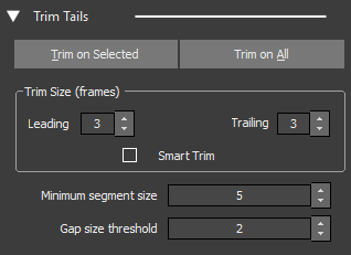 Editor Tools showing Trim Tails Tab