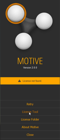 Motive splash screen: License activation.